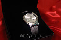Женские часы Армани серебряный корпус и браслет циферблат белый