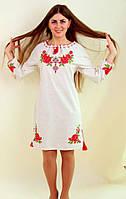 Женское вышитое платье на короткий рукав
