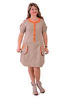 Платья +из льна , бежевое  натуральное , большие размеры ,Пл 018