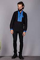 Вышитая мужская сорочка на черном лене
