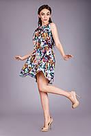 Легкое летнее женское платье в цветы