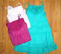 Летние нарядные платья для девочек на бретельках однотонные 110-146р.В остатке 116,128,134р