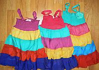 Летние хлопковые платья сарафаны для девочек на бретельках с рюшами 92-128р.