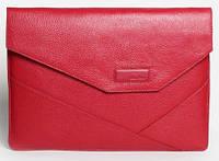 """Женская деловая папка-чехол для MacBook 13"""", натуральная кожа ISSA HARA MC13 (15-00) red"""