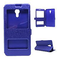 Чехол для Meizu M3 Note / Blue Charm Note3 книжка боковой с окошком, Шелковая фактура, Синий