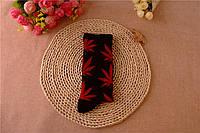 Носки HUF plantlife, черные с красным листом конопли Д15