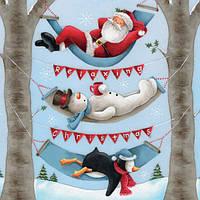 Декупажная салфетка Санта, снеговик и пингвин отдыхают 5848