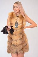 Удлиненная жилетка из меха серебристо-черной лисы