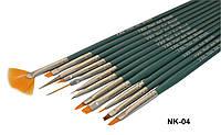 Набор кистей для росписи и дизайна YRE (NK-04) 12шт