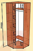 Шкаф угловой однодверный 800х800 высота 2200 мм