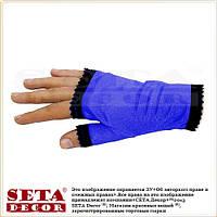 Синие перчатки-митенки  атласные короткие без пальчиков