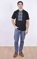 Мужская вышиванка черного цвета с коротким рукавом