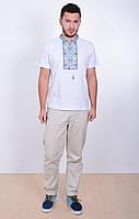 Мужская вышиванка белого цвета Витязь