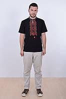 Черная футболка вышиванка с геометрическим орнаментом