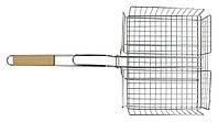 Решетка-гриль корзина 25х31 см, с ручкой дерево, 56 см