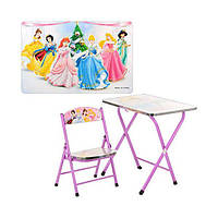 Детский стол со стулом Принцессы DT 19-6, металл, МДФ, регулировка столика по высоте, от 2-х лет