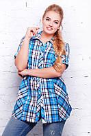 Женская рубашка-туника Ненси, в голубую клетку(размеры 56-62)