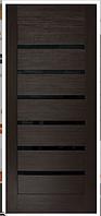 Двери ПВХ Лагуна Черное со стеклом сатин
