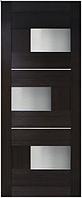 Двери МДФ ламинированные ПВХ Куб со стеклом сатин