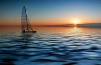 "Фотообои ""Лодка на закате"", Фактурная текстура (холст, иней, декоративная штукатурка)"