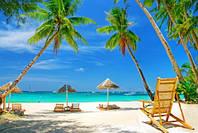 """Фотообои """"Зонтики на пляже"""", Фактурная текстура (холст, иней, декоративная штукатурка)"""