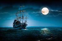 """Фотообои """"Корабль и луна"""", Фактурная текстура (холст, иней, декоративная штукатурка)"""
