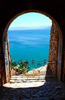 "Фотообои ""Море через арку"", Фактурная текстура (холст, иней, декоративная штукатурка)"