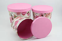 """Подарочная коробка круглая """"ведро"""" розовая (3 размера)"""