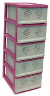 Классический комод, шкаф для посуды розовый