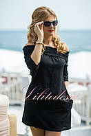 Льняное летнее Платье Вероник черное
