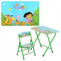 Детский складной столик DT 19-12 «Даша-следопыт», стульчик, железный, ламинированная поверхность, регулировка