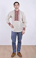 Рубашка декорированная вышивкой на манжетах