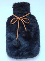 Чехол на грелку меховой темно-коричневый.