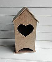 Чайный домик для декупажа с сердцем 16*9 см, 1 шт