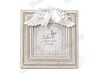 Рамка для фото деревянная с декором из искусственного камня Крылья