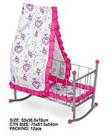 Кроватка-колыбелька для кукол с балдахином FL991