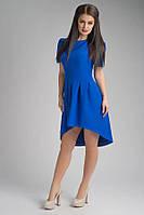 Стильное женское платье цвета электрик удлиненное Глория
