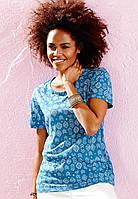 Женская летняя футболка синяя с графическим рисунком
