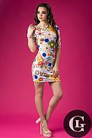 Женкое платье цветочное в стиле  Love, ткань дайвинг
