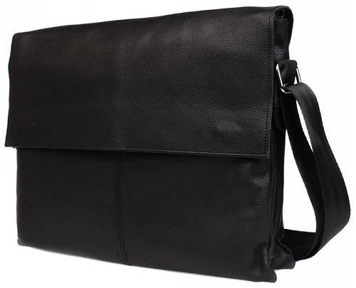 Функциональная кожаная сумка для деловых людей черного цвета Alvi av-102black