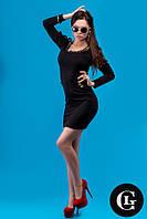 Женское стильное платье черного цвета с узором в цветок