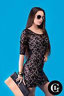Женское стильное платье черное полупрозрачное платье с узором