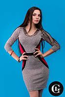 Женское стильное платье серогоцвета с красными вставками