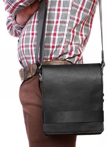 Стильная мужская сумка с клапаном на каждый день, кожаная Alvi av-50-0998 черный