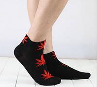 Носки HUF plantlife, чёрные с красным листом конопли К01