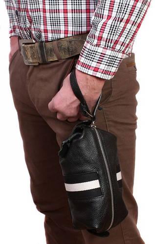 Оригинальная мужская барсетка с ремешком черного цвета, кожаная Alvi av-3-921A