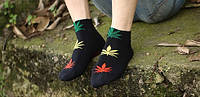 Носки HUF plantlife, чёрные с разнацветным листом конопли К03