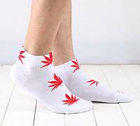 Носки HUF plantlife, белые  с красным листом конопли К04