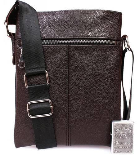 Стильная мужская сумка-планшетка, кожаная, коричневая Alvi av-104brown