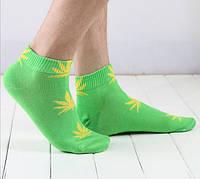 Носки HUF plantlife, салатовые с жёлтым листом конопли К10